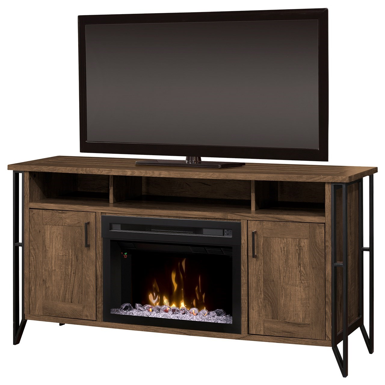 "Tyson 64"" Media Console Fireplace by Dimplex at Jordan's Home Furnishings"
