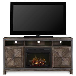 Rustic Media Center with Fireplace