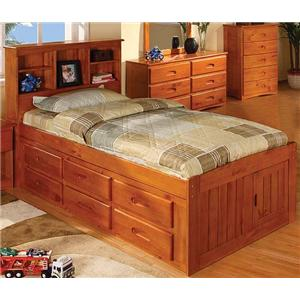 Mission Youth Twin Captain's Bed with Bookcase