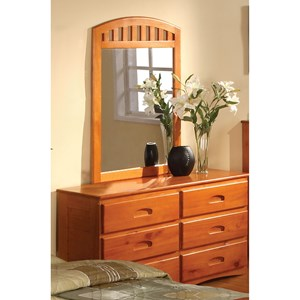 Mission Honey 6 Drawer Dresser & Vertical Mirror Set