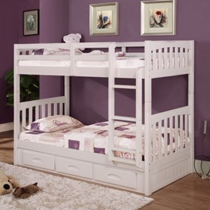 Mission Youth Twin Over Twin Bunk Bed with Storage Footboard