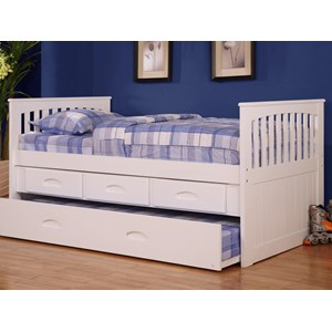 Youth Twin Rake Bed With 3 Drawer Storage And Trundle