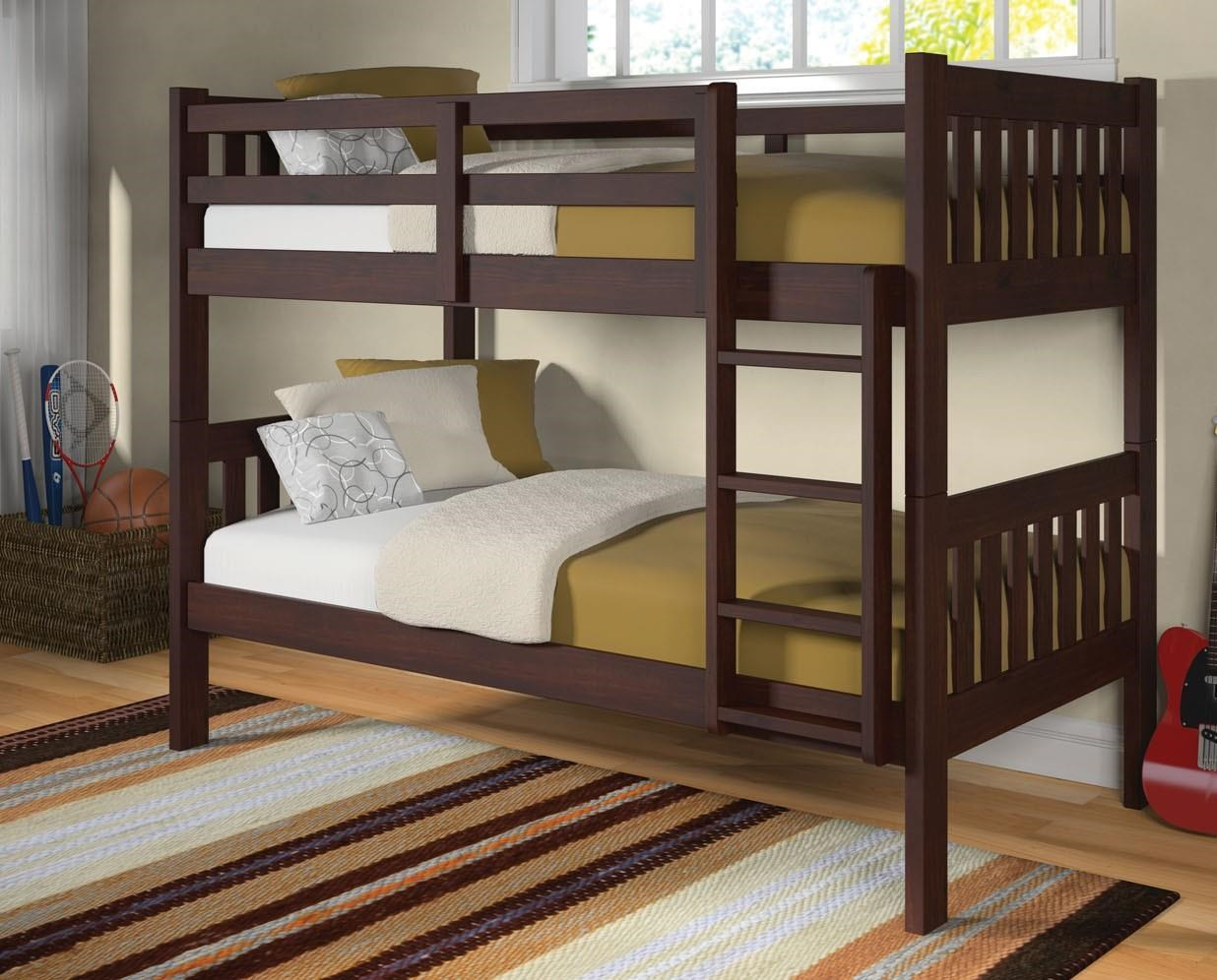 1010 Cappucino Twin over Twin Bunk bed by Donco Trading Co at Furniture Fair - North Carolina