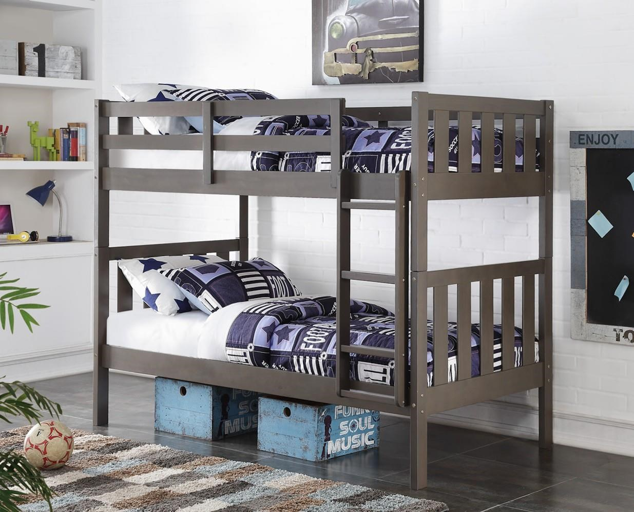 1010 Dark Grey Twin over Twin Bunk bed by Donco Trading Co at Furniture Fair - North Carolina