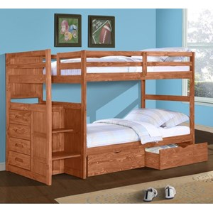 Casual Twin Over Twin Bunk Bed with Stairs and Storage Drawers