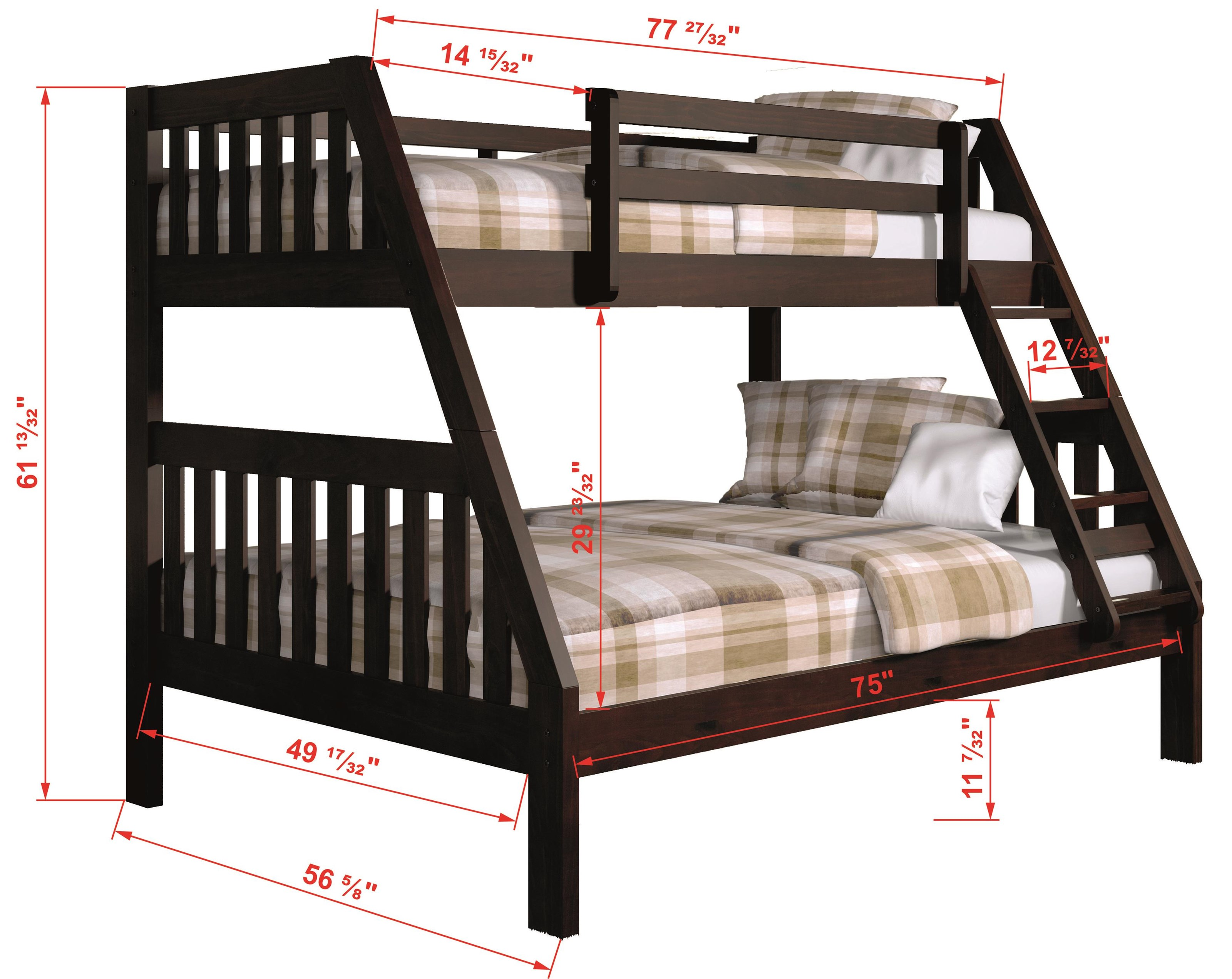 1018 Twin over Full Bunk Bed by Donco Trading Co at Furniture Fair - North Carolina