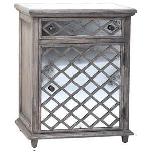 End Table with Antiqued Pearl Mirror Door