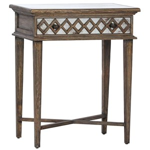 Side Table with Antiqued Pearl Mirror Drawer