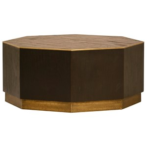 Hermes Oak Coffee Table with Metal Accents