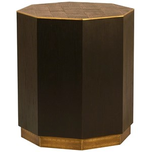 Hermes Oak Side Table with Metal Accents