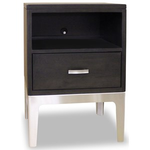 1 Drawer Night Table with Stainless Steel Base