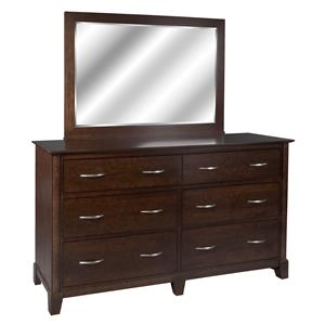 Contemporary Styled Double Dresser and Landscape Mirror