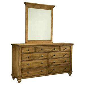 Durham Hudson Falls  Triple Dresser and Vertical Mirror