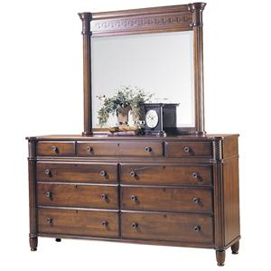 Dresser with Landscape Mirror and Turned Feet