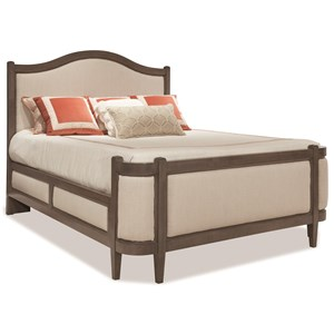 Queen Grand Upholstered Bed with Curved Footboard