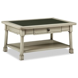 Cottage Style 1 Drawer Cocktail Table with Glass Top