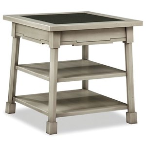 Cottage Style Square End Table with Glass