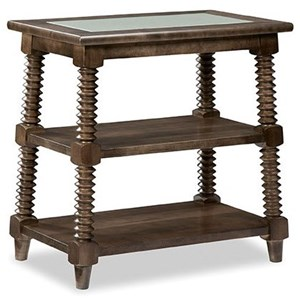 Transitional Solid Wood Large End Table with Glass Top