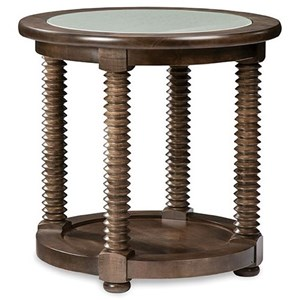 Transitional Solid Wood Round Lamp Table with Glass Top