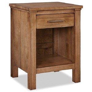 Transitional Open Nightstand with 1-Drawer
