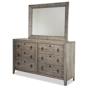 Double Dresser and Landscape Mirror Combination