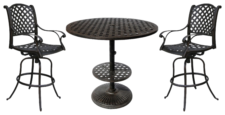 Elizabeth Bar Table & 2 Elizabeth Swivel Barstools by DWL Garden Furniture at Johnny Janosik