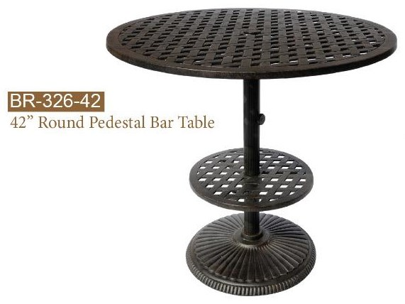 New Providence Round Pedestal Bar Table by DWL Garden Furniture at Johnny Janosik