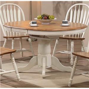 Round Single Pedestal Dining Table with White Trim