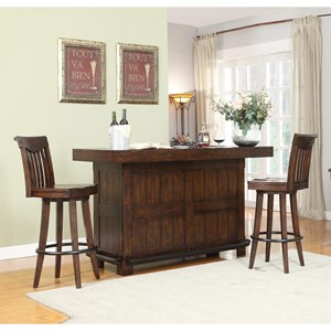 Gettysburg Bar With Bottle Opener and Swivel Stools