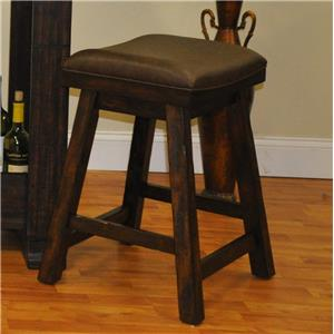 Counter Height Saddle Stool with Bonded Leather Seat