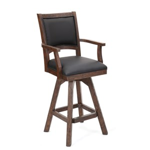 Swivel Arm Bar Stool with Leather Seat and Back