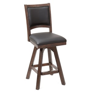 Leather Armless Swivel Barstool