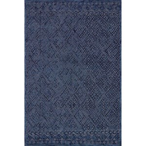 "7'-9"" x 9'-9"" Navy Wool | Cotton Rug"