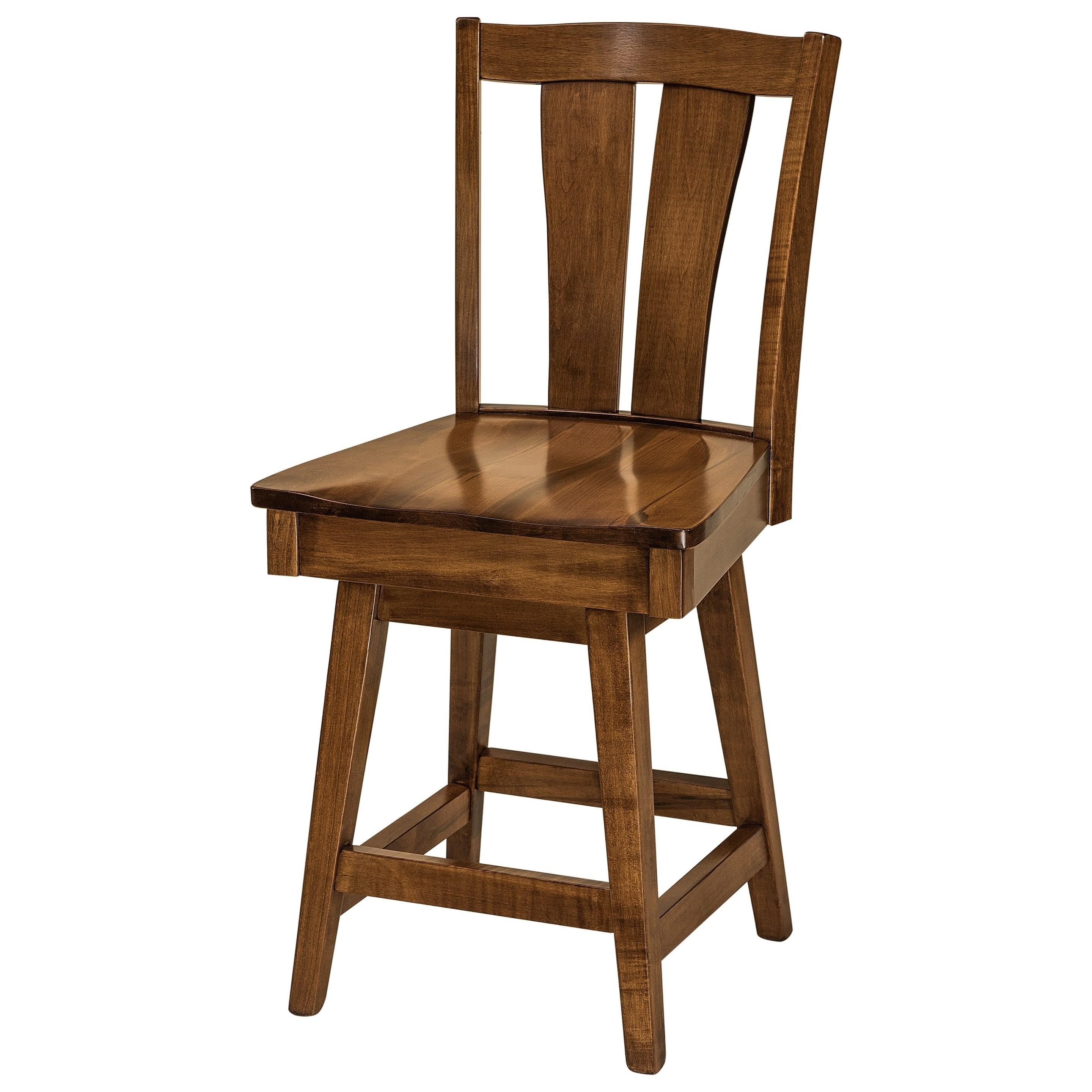 Brawley Swivel Bar Stool - Fabric Seat by F&N Woodworking at Mueller Furniture