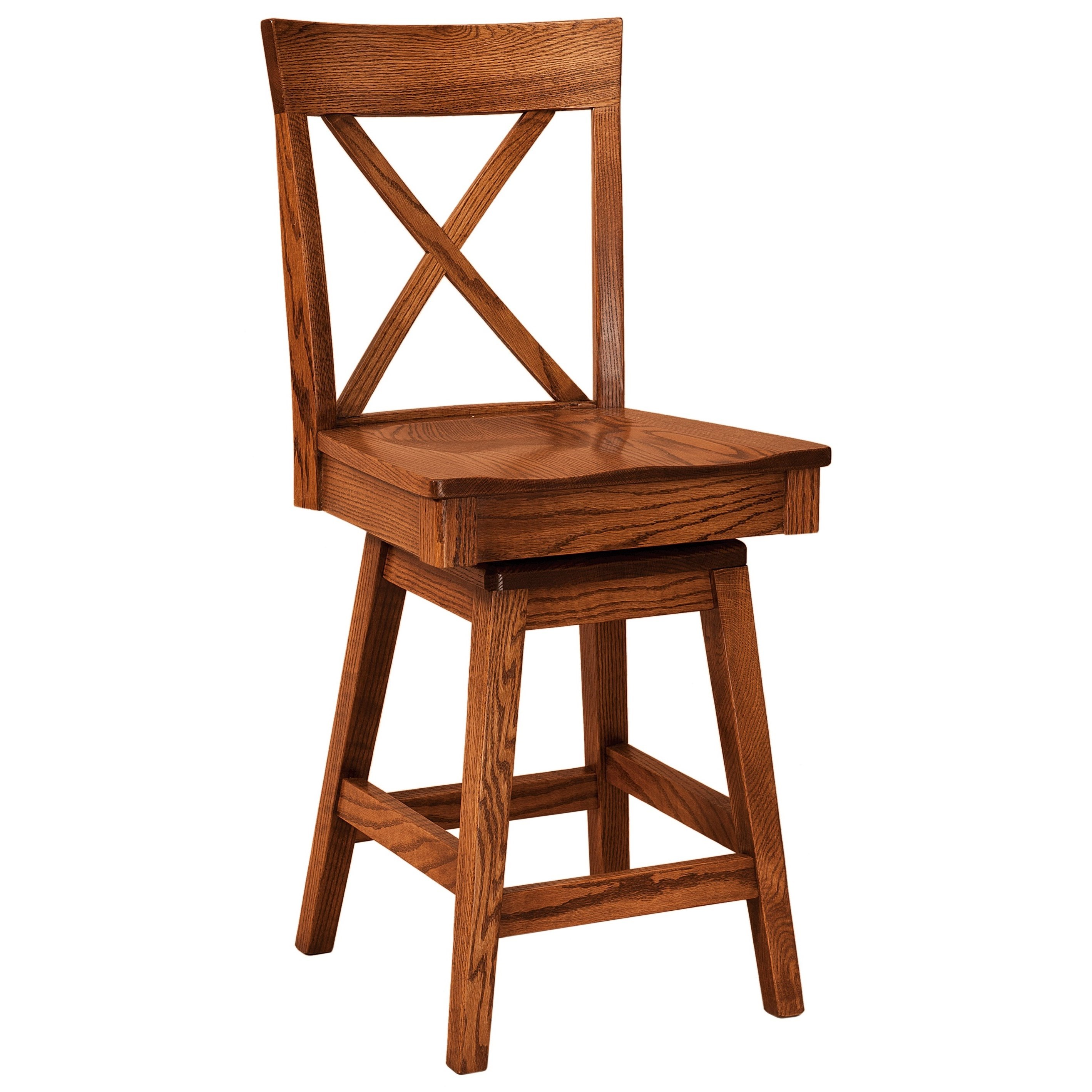 Frontier Swivel Bar Stool - Leather Seat by F&N Woodworking at Mueller Furniture