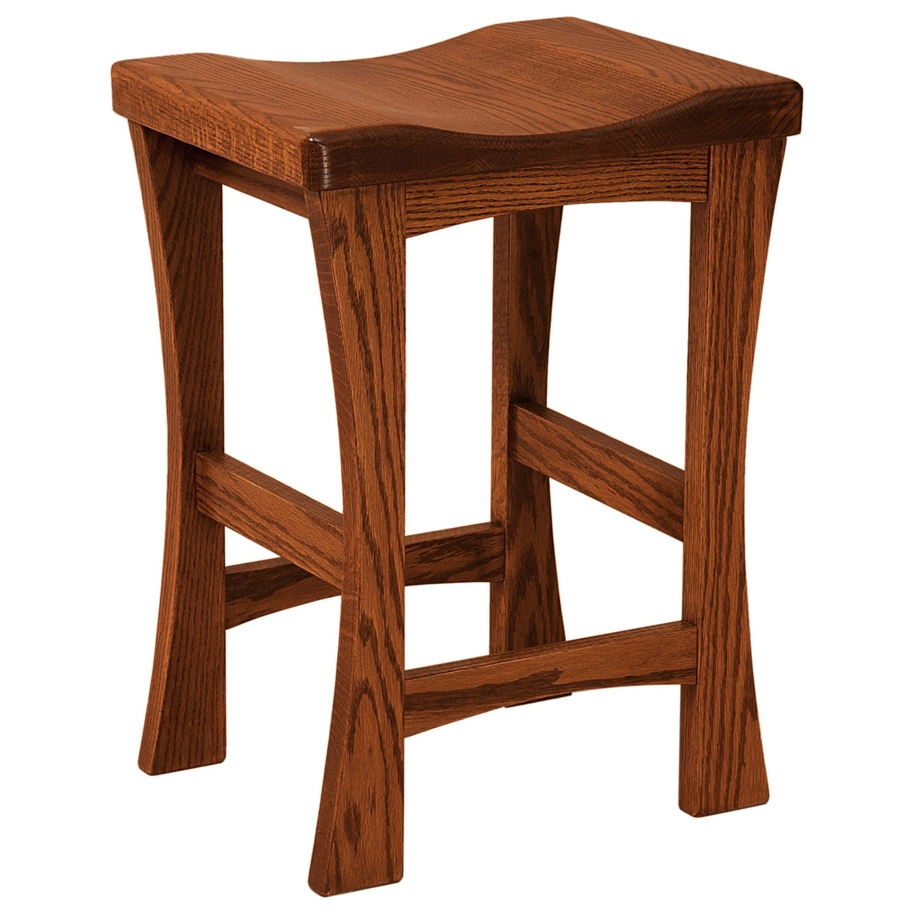 """Kalston 24"""" Height Bar Stool - Leather Seat by F&N Woodworking at Mueller Furniture"""