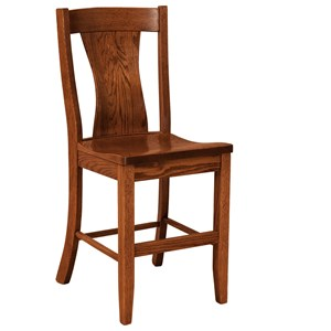 Stationary Bar Height Stool - Leather Seat