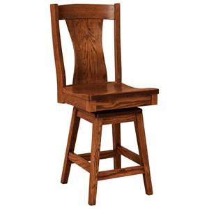 Swivel Bar Height Stool - Leather Seat