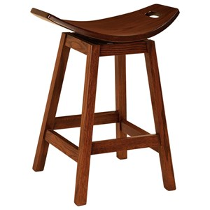 "Stationary Bar Stool 24"" Height - Wood Seat"