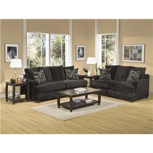 Black Upholstered Loveseat with Accent Pillows