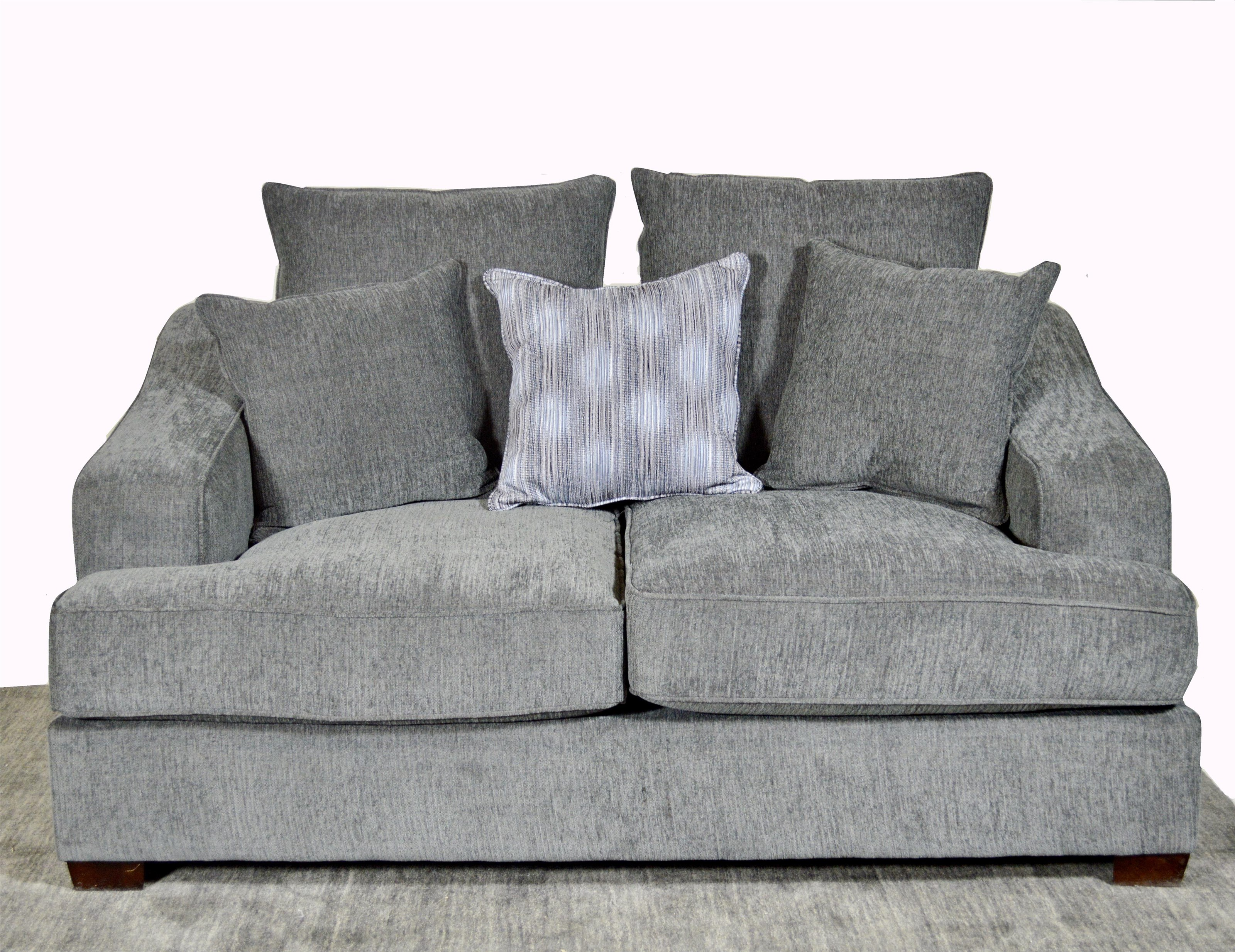 Upholstered Loveseat with Accent Pillows