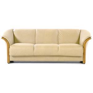 Contemporary 3-Seat Sofa: Paloma Sand / Teak