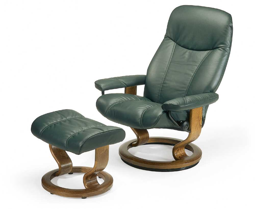 Consul Medium Chair & Ottoman with Classic Base by Stressless at Virginia Furniture Market