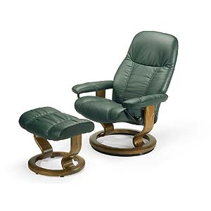 Small Reclining Chair & Ottoman with Classic Base