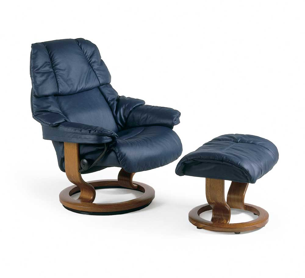 Reno Small Chair & Ottoman with Classic Base by Stressless at Jordan's Home Furnishings