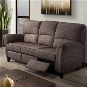 Casual Contemporary Reclining Sofa with Flared Arms