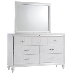 Seven Drawer Dresser and Glass Trimmed Mirror
