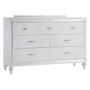 Seven Drawer Dresser with Turned Feet