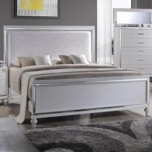 King Upholstered Bed with Mirror Glass Trim
