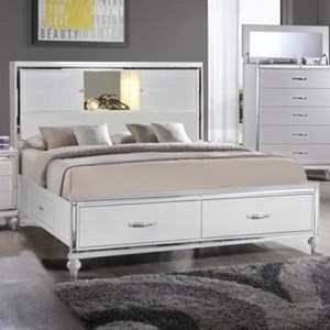 Queen Storage Bed with Footboard and Rail Drawers